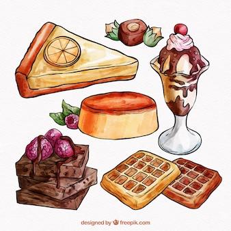 Kolekcja słodkich deserów w stylu przypominającym akwarele