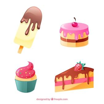 Kolekcja słodkich deserów z czekoladą