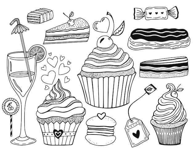 Kolekcja słodkich deserów