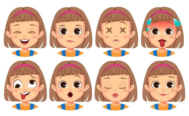 Kolekcja słodkich gestów twarzy dziewczyny