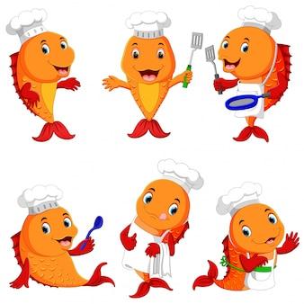 Kolekcja słodkich ryb kreskówka kucharz