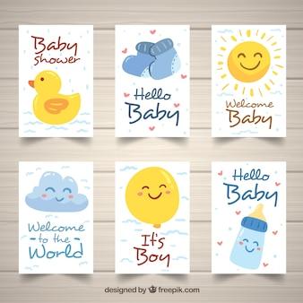 Kolekcja słodkie dziecko karty w stylu wyciągnąć rękę