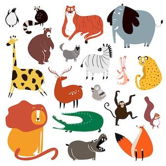 Kolekcja słodkie dzikie zwierzęta w stylu cartoon wektor