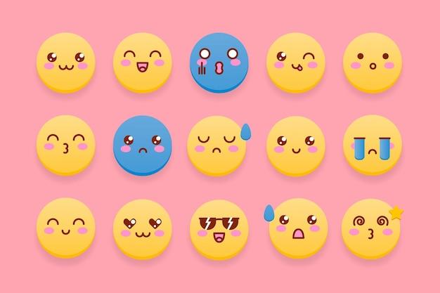 Kolekcja słodkie emotikony