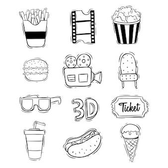 Kolekcja słodkie ikony kina z ręcznie rysowane stylu
