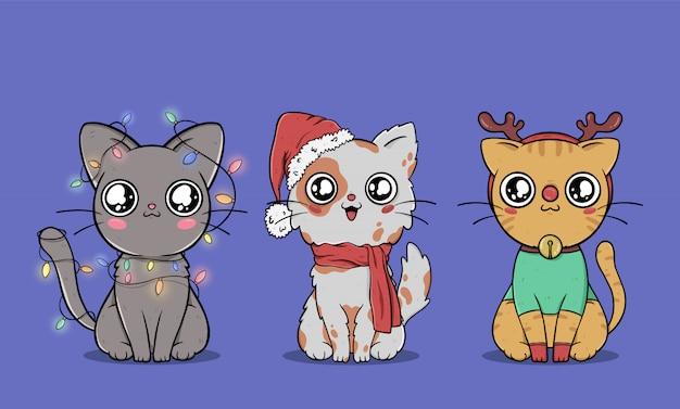 Kolekcja słodkie koty świąteczne