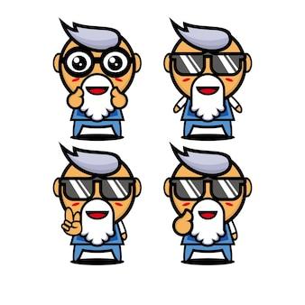 Kolekcja słodkie lato babcia ustawia wektor ilustracja płaski styl kreskówka maskotka