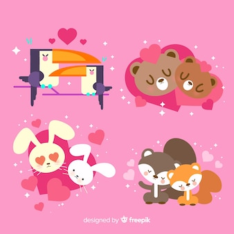 Kolekcja Słodkie Pary Zwierząt Na Walentynki Darmowych Wektorów