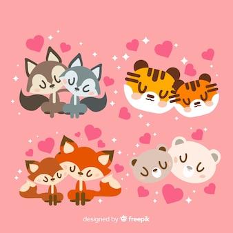 Kolekcja słodkie pary zwierząt na walentynki