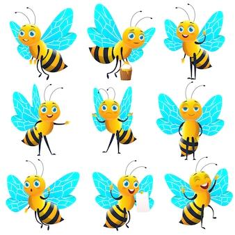 Kolekcja słodkie pszczoły kreskówka. zestaw znaków