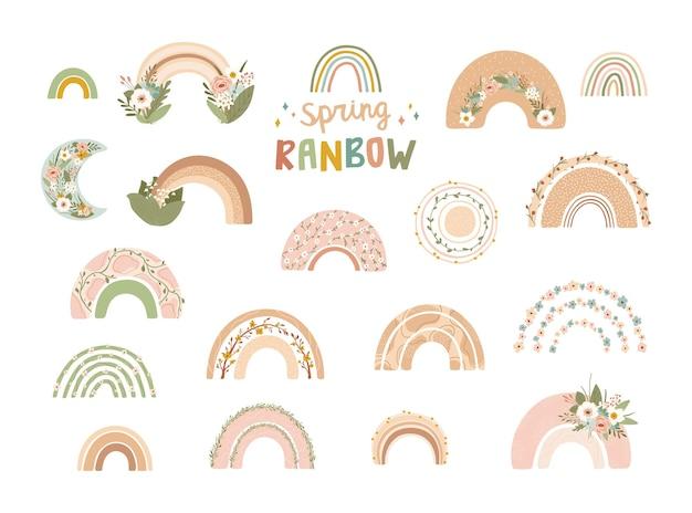 Kolekcja słodkie tęcze z kwiatami w pastelowych kolorach na białym tle
