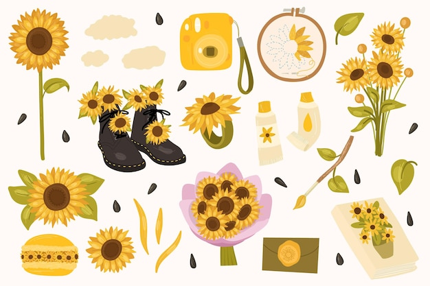 Kolekcja słonecznikówbukiet kwiatów aparat farby olejne pędzle notatnik makaronik obręcz haft koperta