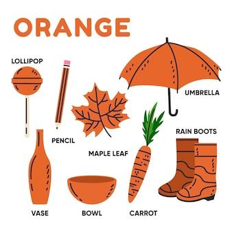 Kolekcja słów pomarańczowy i słownictwa