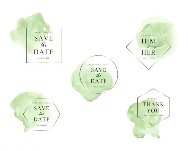 Kolekcja ślubna jasnozielonych plam akwarela