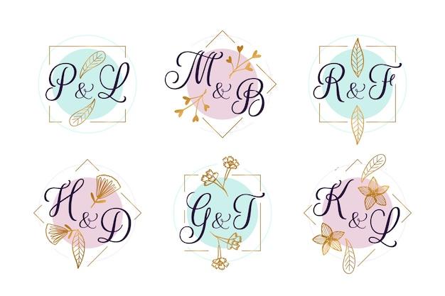 Kolekcja ślubna logo z kwiatami