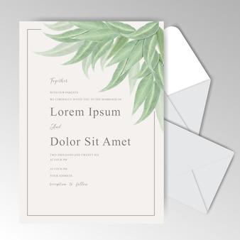 Kolekcja ślubna stacjonarne akwarela szablon z zielonymi liśćmi