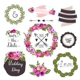 Kolekcja ślubna z ręcznie rysowane kwiaty i rośliny