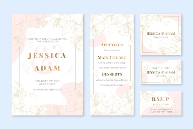 Kolekcja ślubnych artykułów piśmiennych