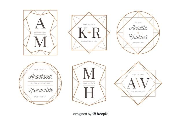 Kolekcja ślubnych logo monogram