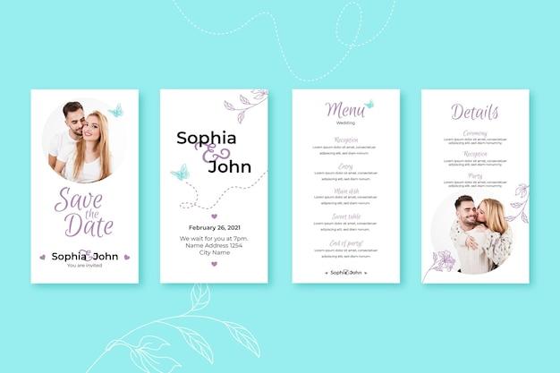 Kolekcja ślubnych opowiadań na instagramie z kwiatowymi ornamentami