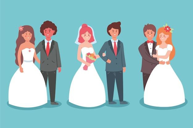 Kolekcja ślubu pary ilustracyjne