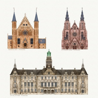 Kolekcja słynnych zabytków architektury