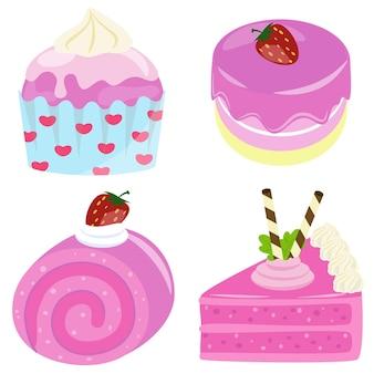 Kolekcja smacznego elementu ciasta truskawkowego materiał ilustracyjny żywności kreskówki