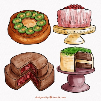 Kolekcja smacznych ciast akwarela