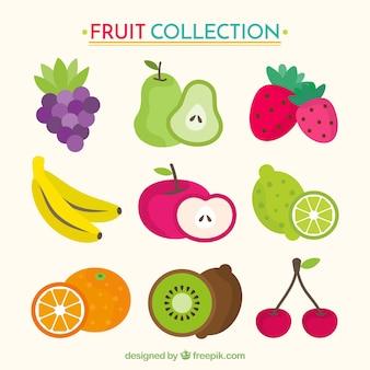 Kolekcja smacznych owoców w płaskim stylu