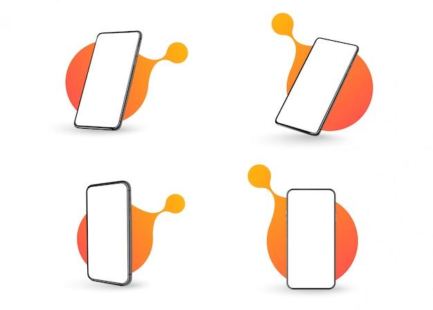 Kolekcja smartfonów pod różnymi kątami.