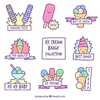 Kolekcja śmiesznych naklejek z lodami