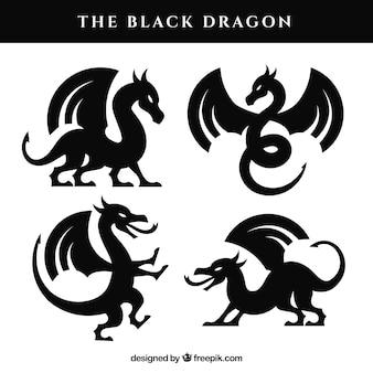 Kolekcja smoków w kolorze czarnym