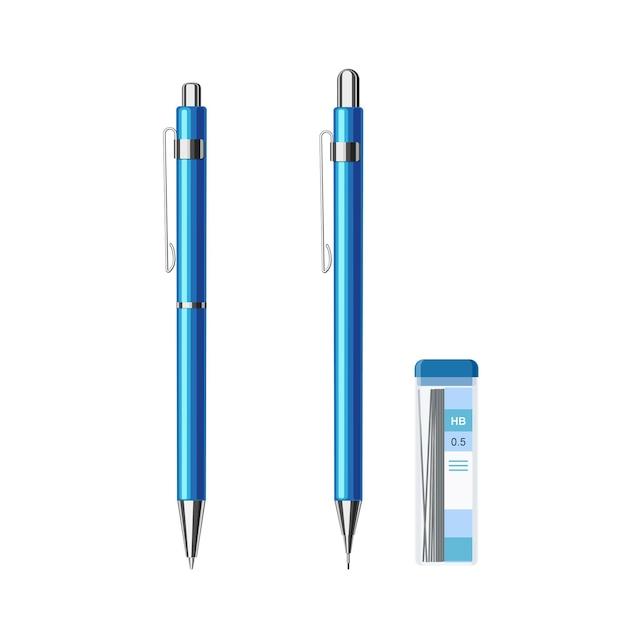 Kolekcja smukłych, automatycznych długopisów sprężynowych w niebieskim metalicznym etui i ołówku mechanicznym z paczką wkładów do ołówków 0,5 hb. płaskie wektor ilustracja na białym tle