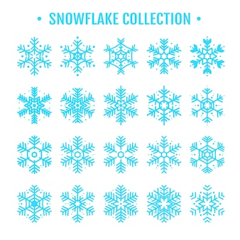 Kolekcja śnieżynek na sezon zimowy, który przypada na boże narodzenie w nowy rok.