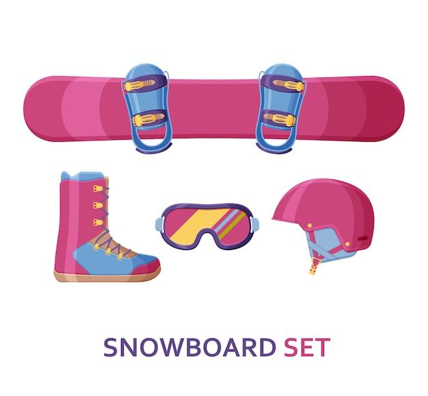 Kolekcja snowboardowa. zestaw ze sprzętem, odzieżą i butami.