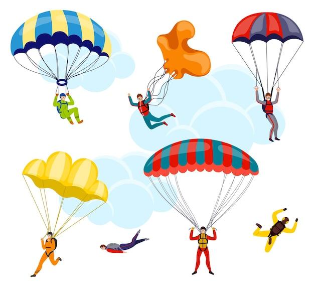 Kolekcja spadochroniarzy i skoczków na białym tle