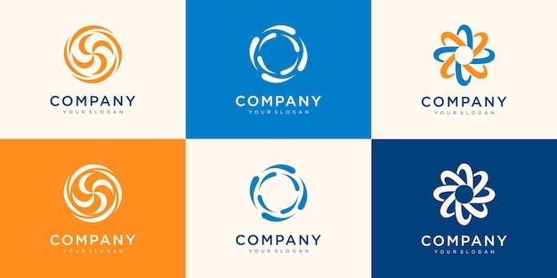 Kolekcja spinning whirl logo szablon.