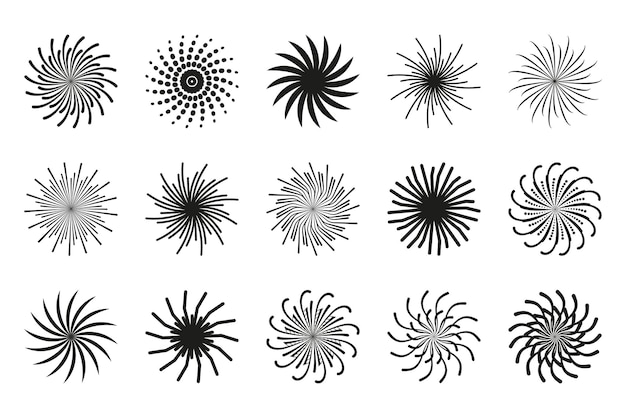 Kolekcja spiral ruchome wiruje okrągły wzór