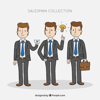 Kolekcja sprzedawców w różnych pozycjach