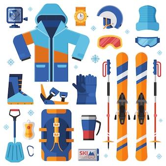Kolekcja sprzętu i akcesoriów do narciarstwa górskiego.
