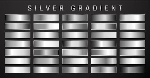 Kolekcja srebrnego, chromowanego metalicznego gradientu. błyszczące talerze z efektem srebra.