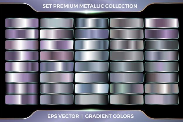 Kolekcja srebrno-fioletowego gradientu duży zestaw szablonów metalicznych palet