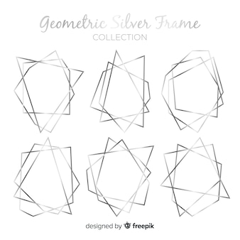Kolekcja srebrnych geometrycznych ramek