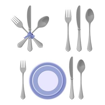 Kolekcja srebrnych naczyń na białym tle, noże i widelce z łyżkami