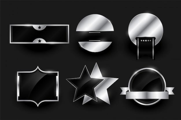 Kolekcja srebrnych pustych odznak lub etykiet
