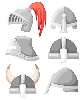 Kolekcja średniowiecznych metalowych hełmów rycerskich. zbroja w kolorze srebrnym. wojownik, rycerz, gotyk, logo normańskie, emblemat, symbol, maskotka sportowa. ilustracja na białym tle.