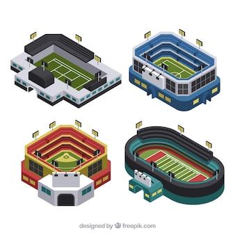 Kolekcja stadionów w stylu izometrycznym