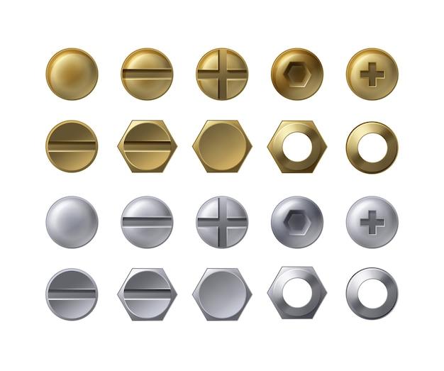 Kolekcja stalowych i mosiężnych łbów śrub, śrub