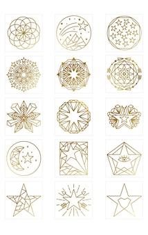 Kolekcja star logos w kolorze złotym