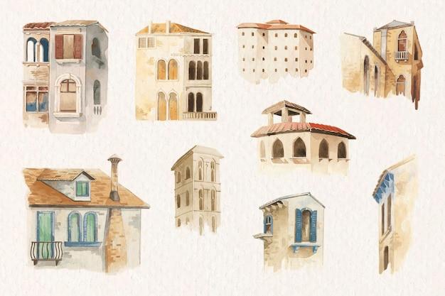 Kolekcja starej europejskiej architektury w stylu przypominającym akwarele